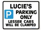 LUCIE'S Personalised Parking Sign Gift | Unique Car Present for Her |  Size Large - Metal faced